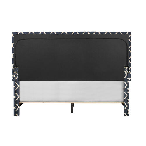 Marine Quatrefoil Upholstered Queen Bed with Double Nail Head Trim