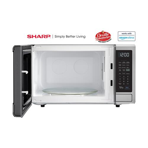 Sharp - 1.1 cu. ft. 1000W Sharp Stainless Steel Smart Carousel Countertop Microwave Oven