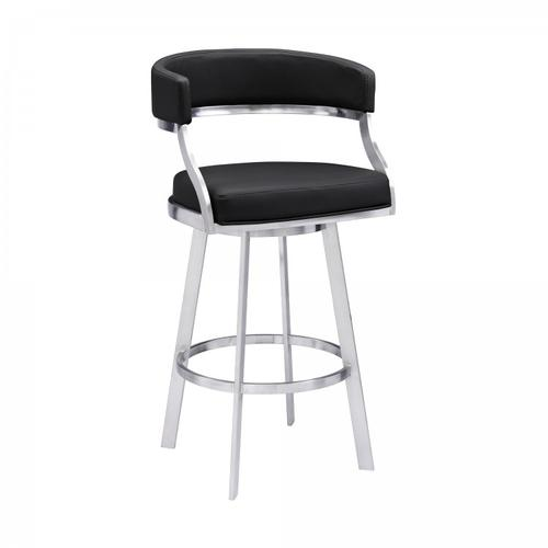 "Saturn Contemporary 30"" Bar Height Barstool in Brushed Stainless Steel Finish and Black Faux Leather"