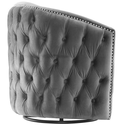 Rogue Swivel Performance Velvet Armchair in Gray