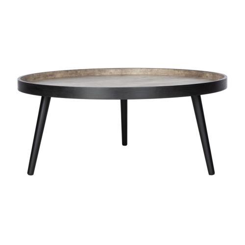 Safavieh - Fritz Round Tray Top Coffee Table - Light Grey / Black