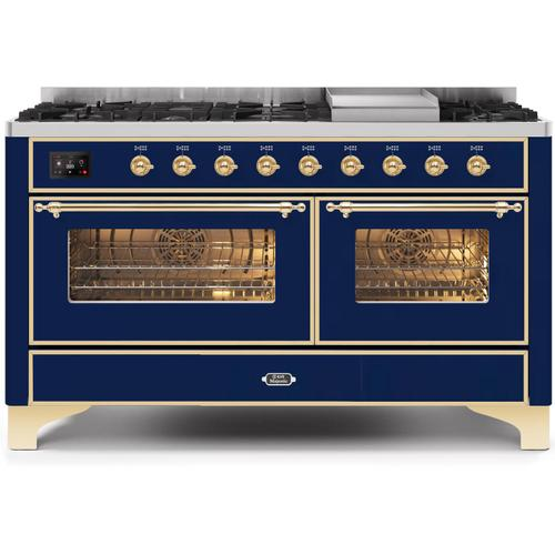 Product Image - Majestic II 60 Inch Dual Fuel Natural Gas Freestanding Range in Blue with Brass Trim