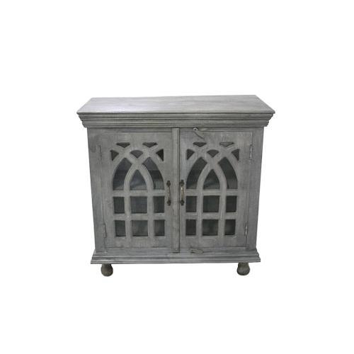 See Details - Bengal Manor Light Grey Mango Wood Cathedral Design 2 Door Cabinet