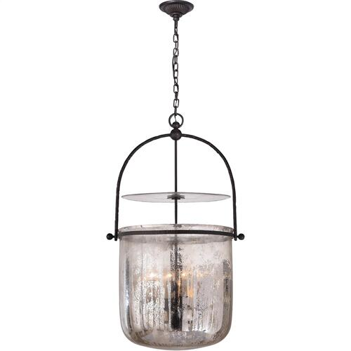 Visual Comfort CHC2270AI-MG E. F. Chapman Lorford 4 Light 20 inch Aged Iron Pendant Ceiling Light in Mercury Glass