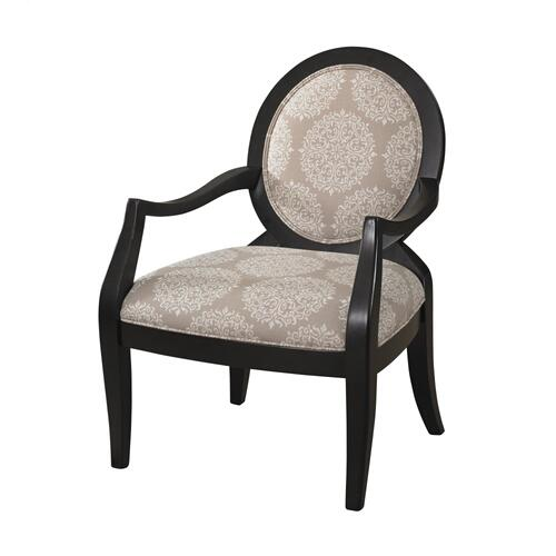 Upholstered Seat and Back Accent Chair, Black and Beige
