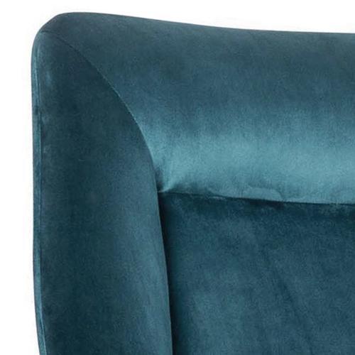 Modern Velvet Chair and Ottoman Set in Deep Aqua Blue