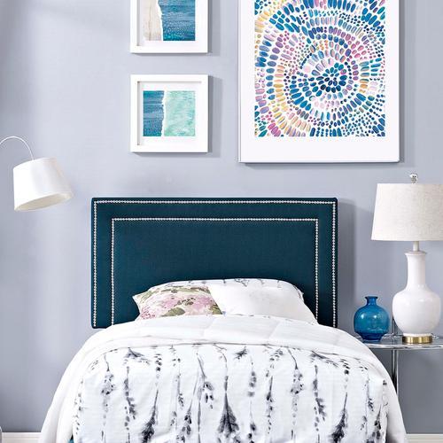 Jessamine Twin Upholstered Fabric Headboard in Azure