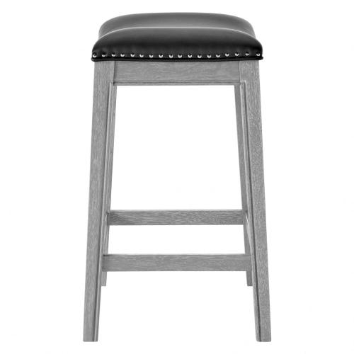 Grover KD PU Counter Stool Ash Gray Frame, Matte Black
