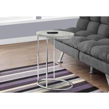 ACCENT TABLE - OVAL / GREY CEMENT WITH CHROME METAL