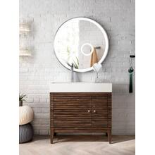 "Linear 36"" Single Bathroom Vanity, Mid Century Walnut"