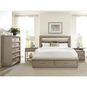 Cascade - Queen Upholstered Storage Footboard - Dovetail Finish
