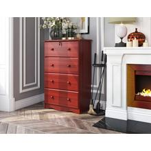 See Details - 5342 - 4-Super Jumbo Drawer Chest with Lock, Mahogany