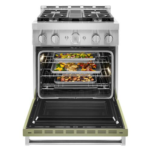 KitchenAid® 30'' Smart Commercial-Style Gas Range with 4 Burners - Avocado Cream