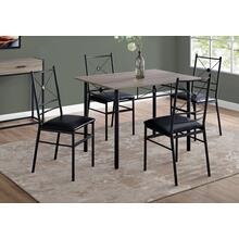 DINING SET - 5PCS SET / DARK TAUPE / BLACK METAL