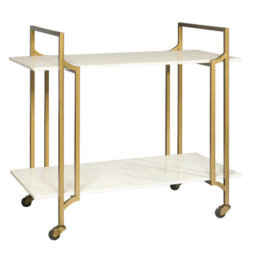 Marble Shelf Rolling Bar Cart in Matte Gold - Base Only