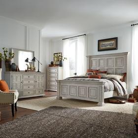King California Panel Bed, Dresser & Mirror, Chest