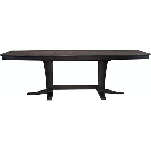 Milano Double Pedestal Extension Table in Coal & Black