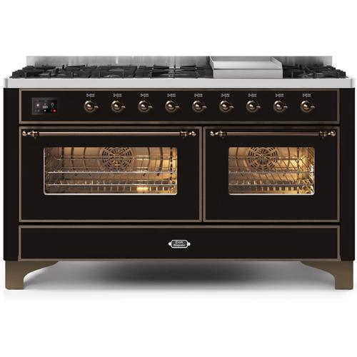 Ilve - Majestic II 60 Inch Dual Fuel Natural Gas Freestanding Range in Glossy Black with Bronze Trim