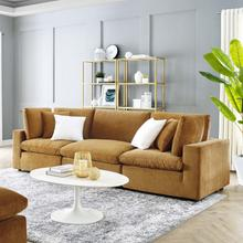 Commix Down Filled Overstuffed Performance Velvet 3-Seater Sofa in Cognac