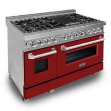 """View Product - ZLINE 48"""" DuraSnow® Stainless Steel 6.0 cu.ft. 7 Gas Burner/Electric Oven Range with Color Door Options (RAS-SN-48) [Color: Red Matte]"""