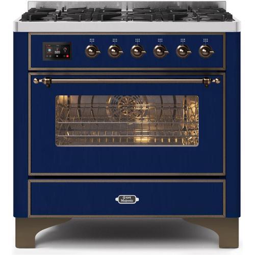 Majestic II 36 Inch Dual Fuel Liquid Propane Freestanding Range in Blue with Bronze Trim