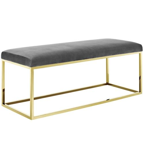 Anticipate Fabric Bench in Gold Gray
