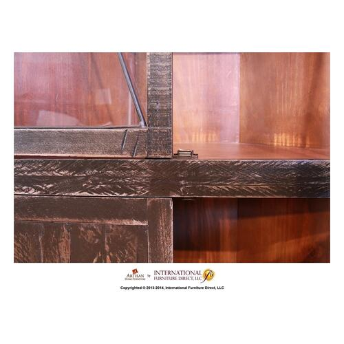 Corner w/2 Glass doors, 2 wood doors - Black Finish
