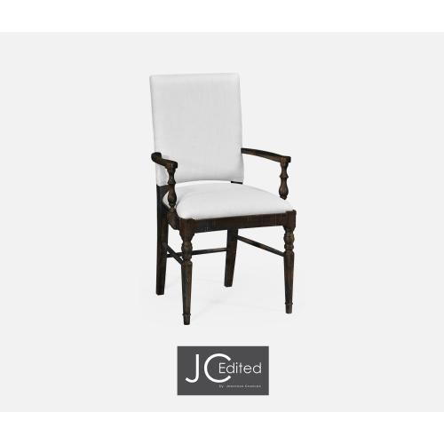Dark Ale Dining Armchair, Upholstered in COM