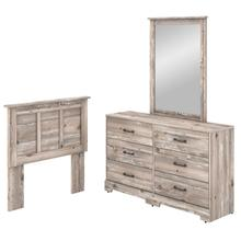 River Brook Bedroom 6 Drawer Dresser with Mirror and Twin Size Headboard - Barnwood
