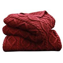 Cable Knit Soft Wool Throw Blanket (3 Colors) - Red