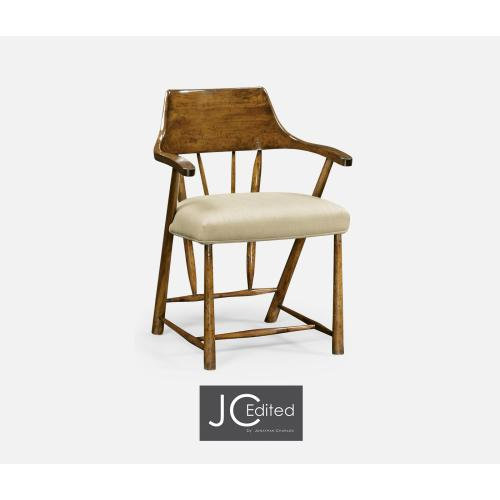 Dining Chair in Country Walnut, Upholstered in MAZO