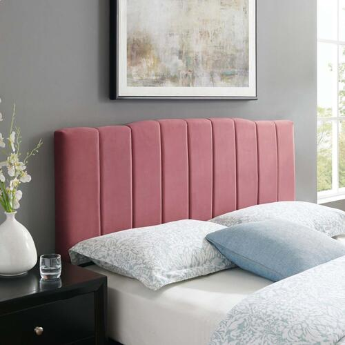 Camilla Channel Tufted King/California King Performance Velvet Headboard in Dusty Rose