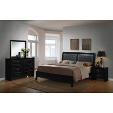 4pc Wood Leather Bed Room Set (QUEEN & KING Bed Dresser Mirror Night Stand), King