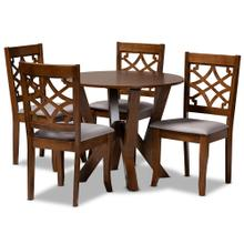 See Details - Baxton Studio Alisa Modern and Contemporary Grey Fabric Upholstered and Walnut Brown Finished Wood 5-Piece Dining Set