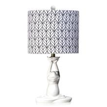 HALIFAX  13in w X 24in ht X 13in d  Whimsical White Moulded Frog Table Lamp with Navy/White Printe