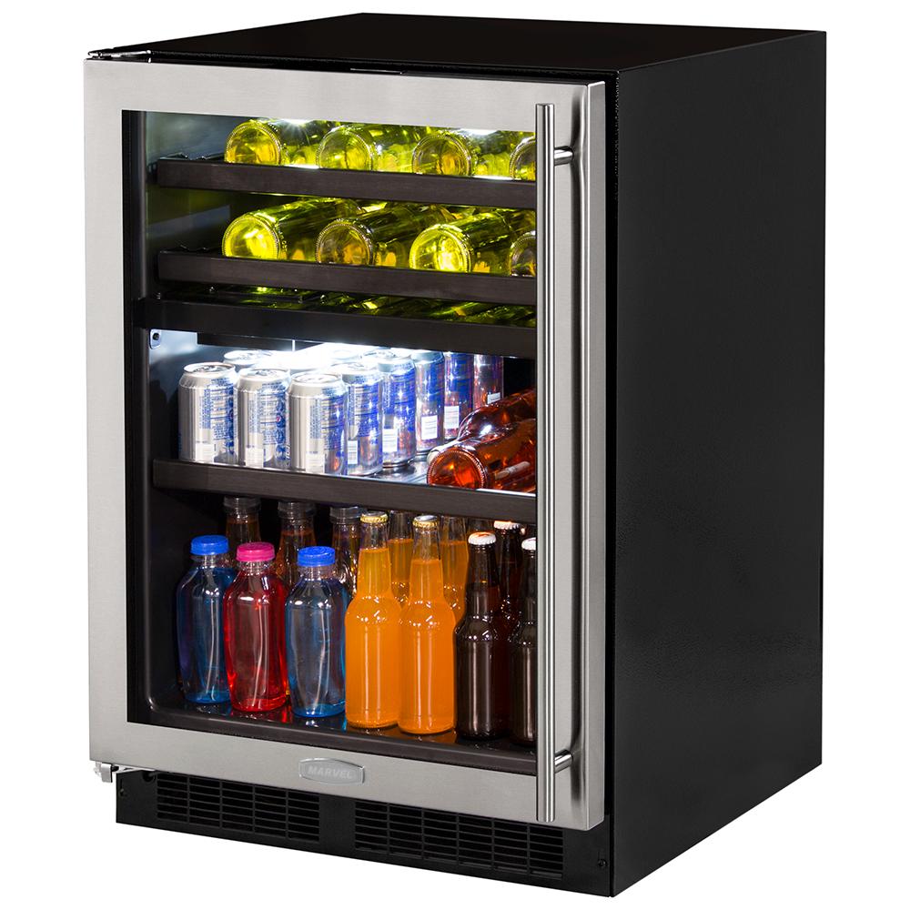24-In Built-In Dual Zone Wine And Beverage Center with Door Style - Stainless Steel Frame Glass, Door Swing - Left