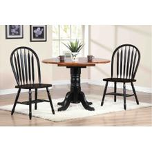 "DLU-TPD4242-820-AB3PC  3 Piece 42"" Round Drop Leaf Dining Set  Arrowback Chairs"