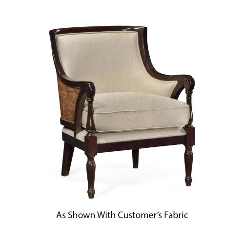Curved Rattan Back Occasional Chair, Upholstered in COM