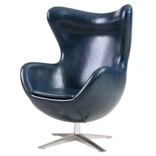 Max PU Swivel Rocker Chair Chrome Legs, Distressed Blue