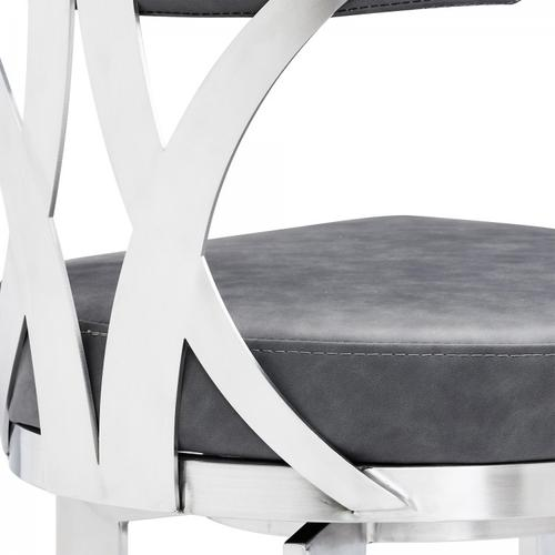 """Natalie Contemporary 26"""" Counter Height Barstool in Brushed Stainless Steel Coated Finish and Vintage Grey Faux Leather"""