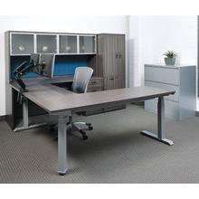 "72""w X 72""d L-shape Sit/stand Electric Height-adjustable Workstation, Slate Grey Top / Silver Base"