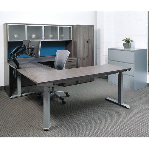 """72""""w X 72""""d L-shape Sit/stand Electric Height-adjustable Workstation, Slate Grey Top / Silver Base"""