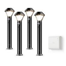See Details - Smart Lighting Pathlight 4-Pack + Bridge - Black