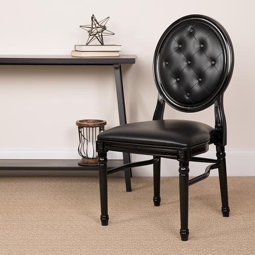 Flash Furniture - HERCULES Series 900 lb. Capacity King Louis Chair with Tufted Back, Black Vinyl Seat and Black Frame