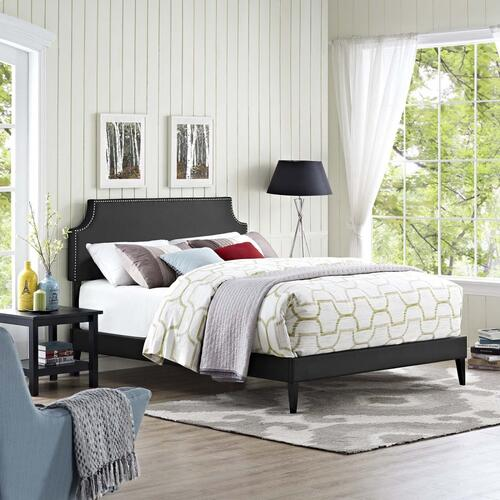 Corene Queen Vinyl Platform Bed with Squared Tapered Legs in Black