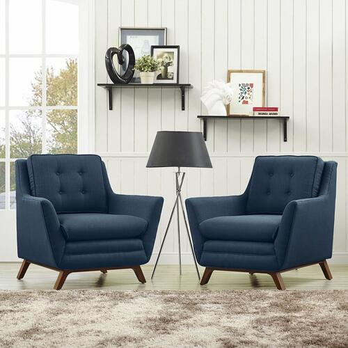 Beguile 2 Piece Upholstered Fabric Living Room Set in Azure