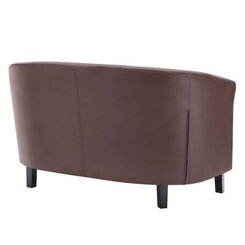 Prospect Upholstered Vinyl Loveseat in Brown