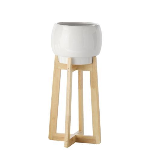 Elroy White Round Planter on Mod Legs, Medium