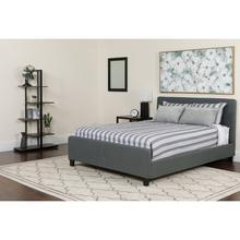 See Details - Tribeca Queen Size Tufted Upholstered Platform Bed in Dark Gray Fabric with Pocket Spring Mattress