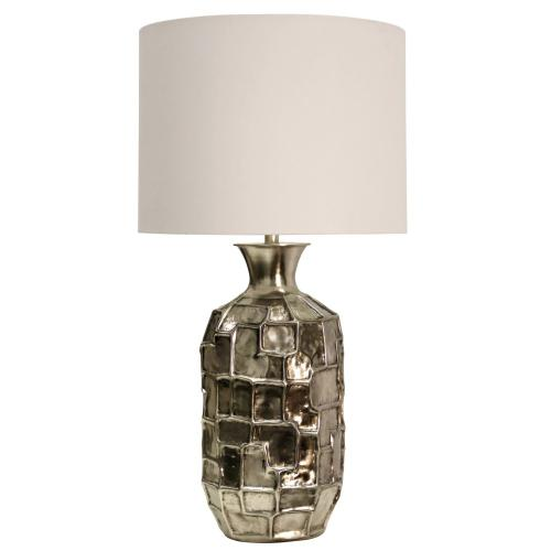 Product Image - Aged Nickel Bedrock Design Metal Base Table Lamp Crafted in India with Hardback Shade 12.5 Harp.